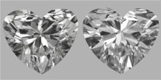Pair of  Heart   Brilliants    1.01ct total    D VVS1- D VVS2  GIA - Original image 10EX #2258-2259
