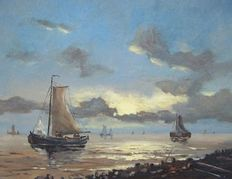 Unknown artist (20th century) - Seascape with boats