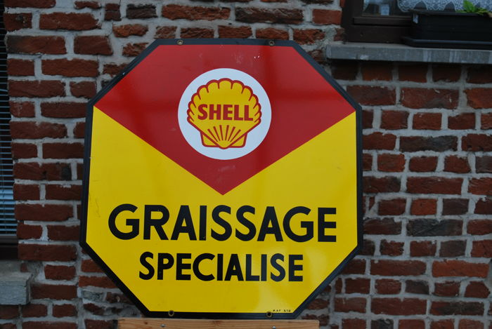 Original octagonal enamelled sign for Shell, from 1950