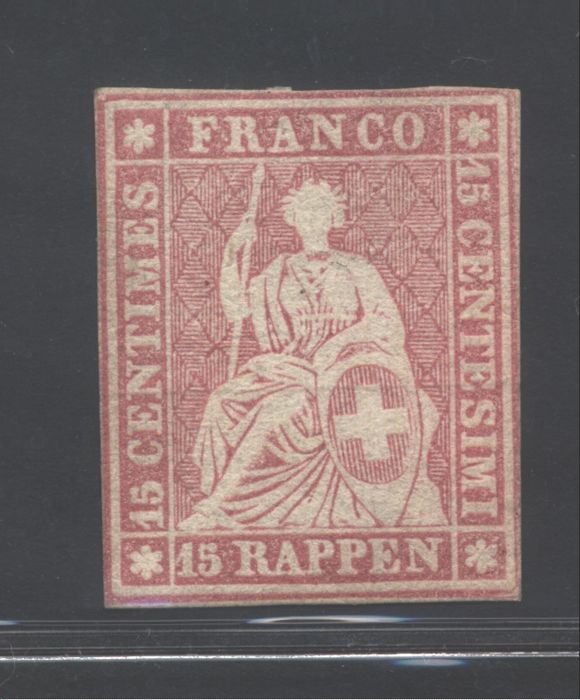 Switzerland 1854 - 15 rappen pink - Unificato catalogue No. 28