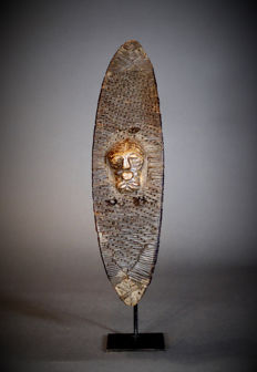 Rare African Tribal SONGYE Wickered Dance Shield. Democratic Republic of the Congo.