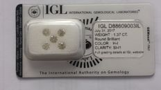 1.37ct 5  Diamond  Natural Round  H-I   SI-I1  IGL Lab   -NO RESERVE