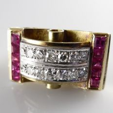 18 kt with platinum Art Deco Style Tank ring with synthetic pink sapphires of 0.80 ct and 0.60 ct diamdonds