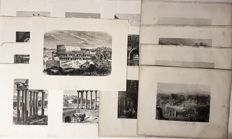 16 prints by various artists, J.C. Bentley (1809 - 1851) after W.H. Bartlett (1809-1854) and various other - views of Ancient Jerusalem and Rome - 19th century