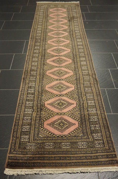 Hand-knotted Persian carpet Jomut Buchara runner 80 × 310 cm