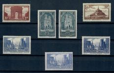 France 1929/1940 - Selection of Buildings among others, and Coin Date