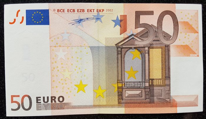 European Union - Ireland - T - 50 Euro 2002 - Duisenberg - without  Hologram  -  ERROR  note - consecutive with previous lot