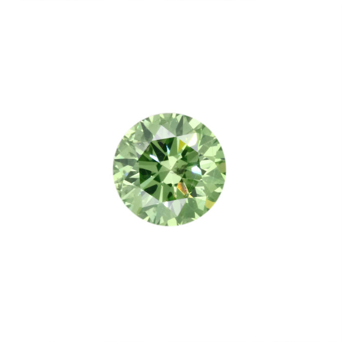 0.85 ct brilliant Fancy Vivid Green Vs2