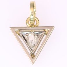 Art Deco bicolour gold triangle shaped pendant with rough diamond - No reserve price