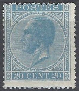 Belgium - 'King Leopold I in profile' 20 cents Sky blue with perforation 15 - OBP 18Aa - with certificate