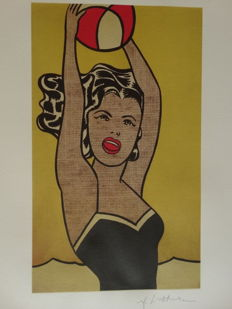 Roy Lichtenstein Lithograph Print - Girl With Ball - Printed Signature On Plate