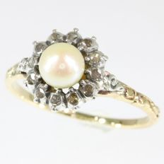 Typical Dutch antique style pearl and diamond gold backed silver ring