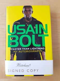 Usain Bolt - Faster than Lightning - 291 pages hard cover- hand signed new book + photoproof + COA