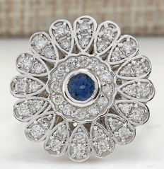 1.70 Carat Sapphire And Diamond In 14K Solid White Gold Ring Size: 7 *** Free shipping *** No reserve *** Free resizing ***
