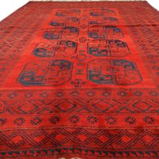 Semi antique Afghan - 298 x 212 cm - Authentic Persian rug - 100% wool - in beautiful, used condition - with certificate.