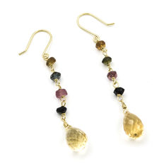 Yellow gold 18 kt/750 - Earrings - Assorted tourmalines - Citrine - Earring length: 53.70 mm