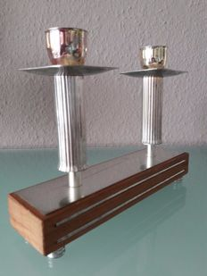 Unknown designer - decorative, silver plated Mid Century Design candlesticks made of teak wood and metal