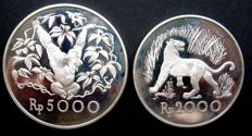 "Indonesia - 2000 and 5000 Rupiah 1974 ""Endangered Wildlife (2 different coins) - silver"