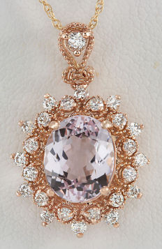 4.79 Carat Morganite 14K Solid Rose Gold Diamond Pendant - Length: 17 Inches (43.2 cm) ***Free Shipping*** No Reserve***