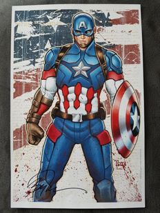 Marvel Comics -Captain America - Art Print By Billy Tucci And Wes Hartman - Signed