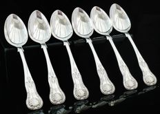 Set of 6 Silver Teaspoons, Edinburgh 1855, William Crouch & Son, Original Box