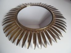 Unknown designer - vintage brass sunburst mirror