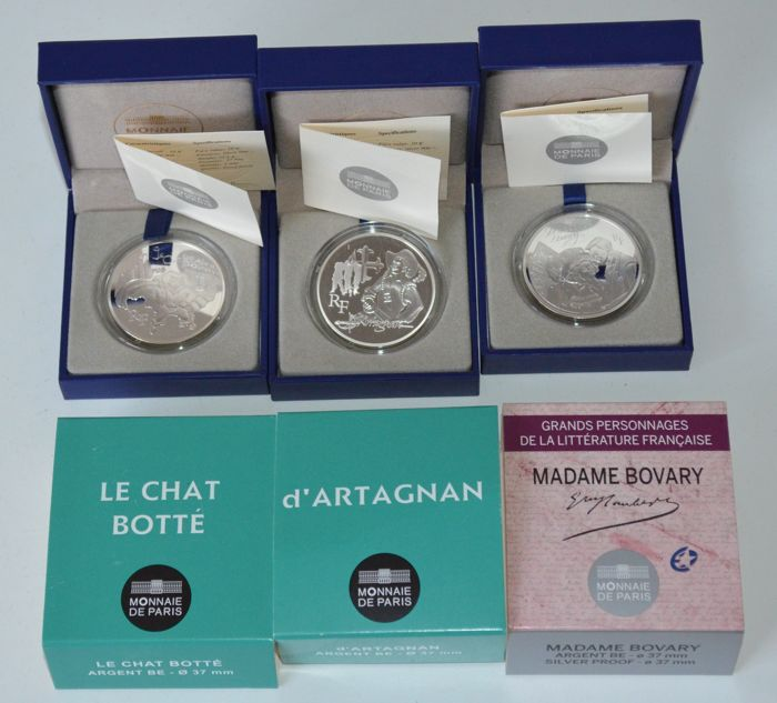 "France - 10 Euro 2012 ""Le Chat Botté"", ""d'Artagnan"" and ""Madame Bovary"" (3 coins) - silver"