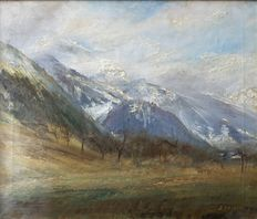 "Pierre Emmanuel Damoye (1847 - 1916) ""Mountain landscape in the Alps"" - Attributed to"