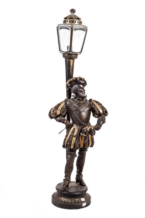 Statue with lamp in antimony alloy (90 cm) - France - early 1900s