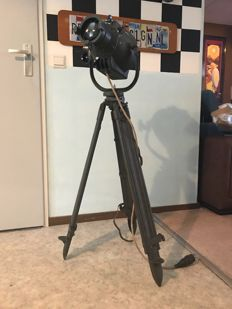 Strand Electric – Theatre lamp on an old wooden army tripod, with bag!