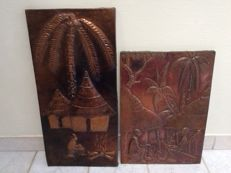 2 large copper wall signs with an African village scene - D.R. Congo