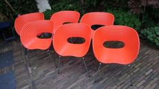 Ron Arad for Vitra – set of 6 red chairs, model Tom Vac