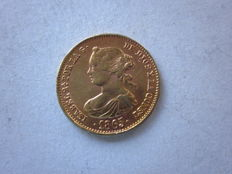Spain - Isabel II - Queen of Spain (1833 - 1868) - 4 platinum escudos   with gold plating