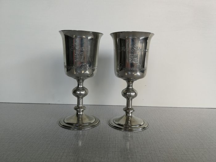 2 silver plated wine cups / chalice – engraved – around 1970 Monogram:  WA - Willem Alexander – Prince of Orange B – Beatrix – Queen of The Netherlands