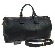 Chanel - Jumbo XL travel bag, quilted leather, with CC logos - Weekend bag