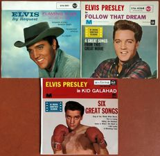 "Elvis Presley: lot of three very rare original German and French ep's: ""Flaming star"" ""Follow that dream"" and  ""Kid Galahad"""