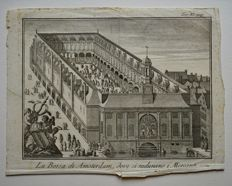 6 old engravings of the Beurs in Amsterdam - 17th century and later