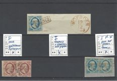 The Netherland 1852/1964 - Willem III - NVPH 1, 2 and 5 on pieces of letter - pairs