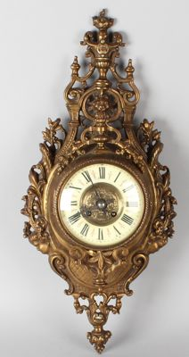 Antique French bronze Cartel wall clock. Circa 1880