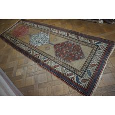 Exclusive antique handwoven Persian palace carpet, Kazak Derbend Persian carpet, 310 x 110cm Tapis Tappeto carpet