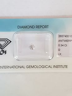 0.34 ct brilliant cut diamond, D I.F.