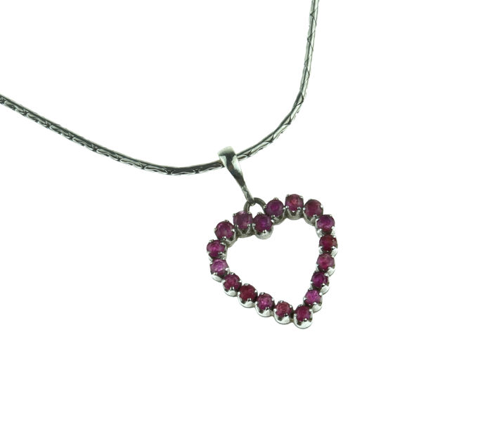 14k white gold necklace with 14 karat gold heart pendant set with rubies - 46 cm