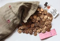 The Netherlands - 1 cent 1972, Juliana, 1000 pieces in original coin bag from the Royal Dutch Mint.