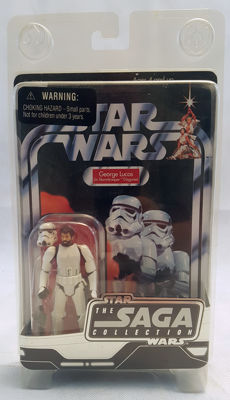 George Lucas in Stormtrooper disguise action figure moc, Hasbro 2006