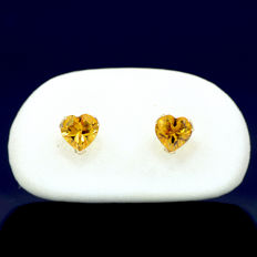 14k/575 yellow gold earrings with two heart-shaped citrine - Total gemstones weight 1.22 ct.