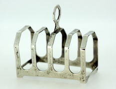 Solid sterling silver four slot toast rack, Broadway & Co, Birmingham 1993