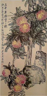 Hand-painted water-ink painting scroll 《吴昌硕-桃实图》- China - late 20th century