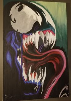 Original Painted Canvas - Spiderman : Venom - 3'x2' - Signed