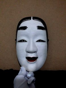 Noh theater mask - Ko-mote - with original box signed by the artist 'Fukurai' - Japan - 2nd half of the 20th century