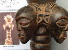 """""""Fetish of Divination called ' Lubuko '- LUBA - Congo - with certificate of authenticity Baron Coomans de Brachène -  Former collection Frank Chantereau ."""